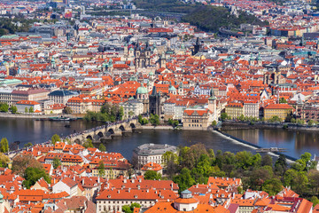 Skyline view panorama of Charles bridge (Karluv Most) with Old Town in Prague. Czech Republic