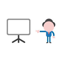 Vector illustration businessman character pointing blank presentation chart