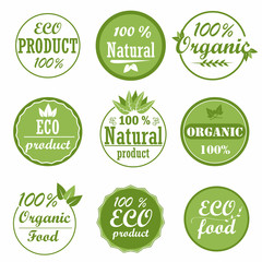 Set of healthy organic food labels and high quality product badges. Eco and natural product icons