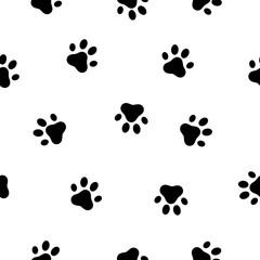 Dog and cat paw seamless pattern. Animals paw print