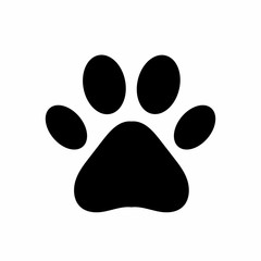 Dog or cat paw. Black paw print isolated on white background