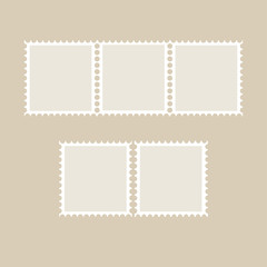 Postage stamp tamplate. Set of blank stamps