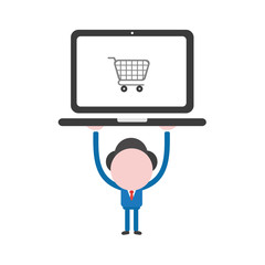 Vector illustration businessman character holding up laptop computer with shopping cart