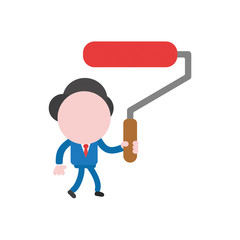 Vector illustration businessman character walking and holding red paint brush roller