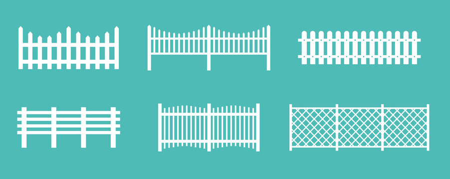 Vector illustration set of white rural wooden fences, silhouettes fence for garden and house concepts, flat cartoon style.