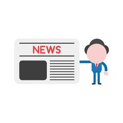 Vector illustration businessman character holding newspaper