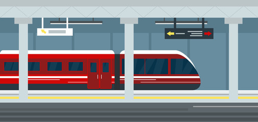 Vector illustration of empty subway station interior, subway railway station underground, metro platform and train. Modern urban metro concept.