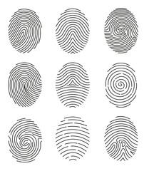 Vector illustration set of different shape fingerprint in line style on white background.