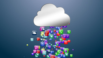 Cloud storage media data. Archive. Online data storage. 3D illustration.