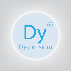 Dysprosium Dy chemical element icon- vector illustration