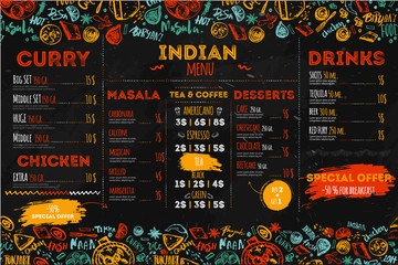 Hand drawn Indian food menu design with rough sketches and lettering. Can be used for banners, promo