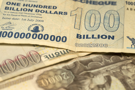 Unique Zimbabwe hyperinflation Banknote one hundred billion Dollars in the Detail, 2008