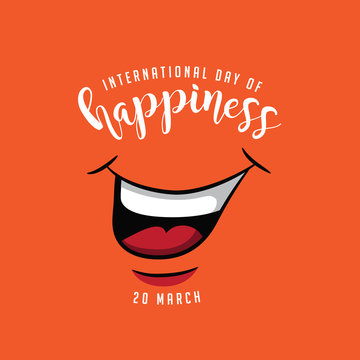 International day of happiness design with smiling mouth. EPS10 vector illustration.