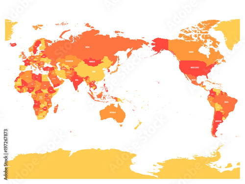 World map in four shades of orange on white background high detail world map in four shades of orange on white background high detail pacific centered political gumiabroncs Image collections