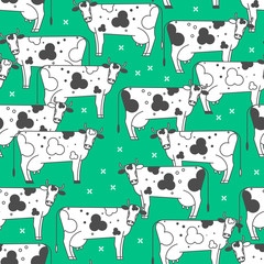Seamless pattern with cows. Black and white animals on a green background. Linear vector illustration.