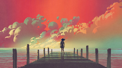 Foto op Plexiglas Koraal beautiful scenery of the woman standing alone on a wooden pier looking at colorful clouds in the sky, digital art style, illustration painting