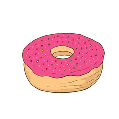 Donut doodle icon. Sweet vector print. Cartoon sticker in trendy style.