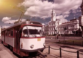 Tram on Arad town hall square