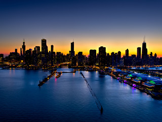 Fototapete - Downtown Chicago Glow