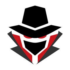 Mysterious computer hacker icon. Black and red. Isolated on white