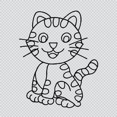 Cute cat. Doodle vector illustration.