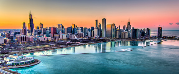 Fototapete - Chicago Sunset