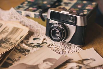 Vintage camera and photo album
