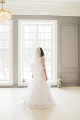 bride is staying near the window in wedding dress and veil