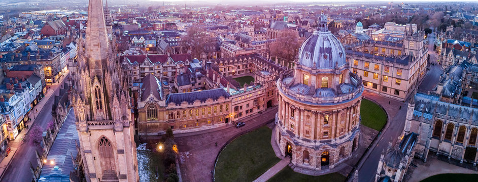 Aerial evening view of central Oxford, UK