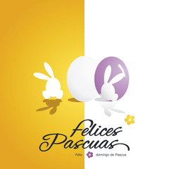 Happy Easter (Felices Pascuas - Spanish) rabbit egg flower yellow white vector