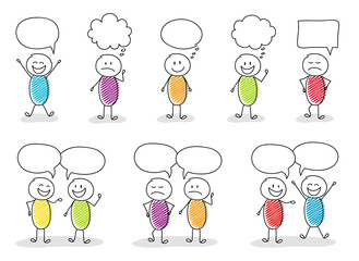 Business image concept - funny stickmen with speech bubbles and different facial expressions. Vector.