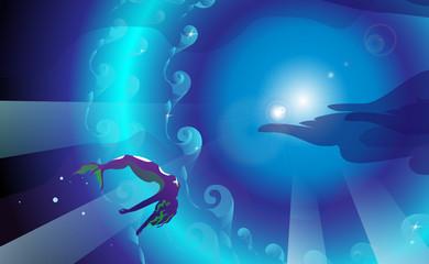 Purple mermaid, on sea background, vector illustration.