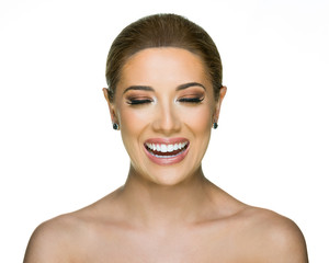 Beauty Model Laughing - Eyes Closed