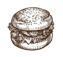 Burger, hamburger sketch. Fast food concept. Hand-drawn vector illustration