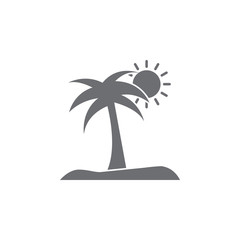 island with a palm tree icon. Simple element illustration. island with a palm tree symbol design template. Can be used for web and mobile