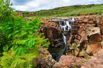 Canyon scenery with waterfall, Bourkes Luck Potholes, South Africa