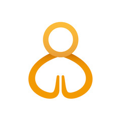Vector icon praying human. Man bowed in prayer isolated religion logo concept