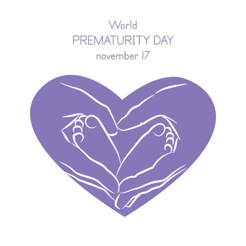 Vector illustration of a background for World Prematurity Day. Hands holding baby foot. Vector illustration.