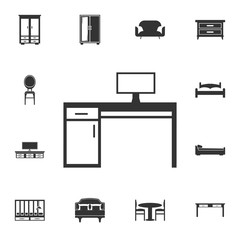 Pc table icon. Detailed set of furniture icons. Premium quality graphic design. One of the collection icons for websites, web design, mobile app