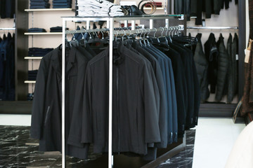 Stylish clothes at menswear store