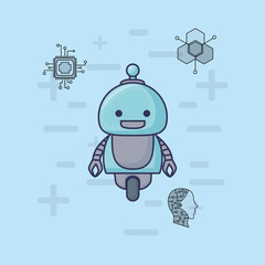 cartoon Robot with artificial intelligence related icons over blue background, colorful design vector illustration