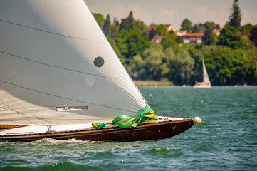 Bow of a classic racing sailboat