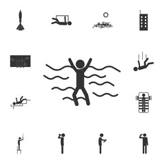 sinking person icon. Detailed set of death icons. Premium quality graphic design. One of the collection icons for websites, web design, mobile app