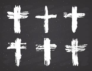 Grunge hand drawn cross symbols set. Christian crosses, religious signs icons, crucifix symbol vector illustration