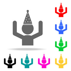 man with a party hat icon. Elements of party multi colored icons. Premium quality graphic design icon. Simple icon for websites, web design, mobile app, info graphics