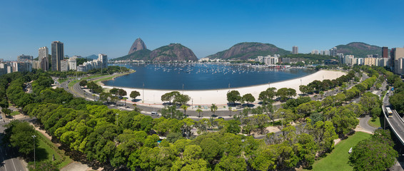 Panoramic View of Botafogo Beach With the Sugarloaf Mountain in the Horizon, in Rio de Janeiro, Brazil