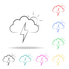 sign of partial thunderstorm icon. Elements of weather multi colored icons. Premium quality graphic design icon. Simple icon for websites, web design, mobile app, info graphics