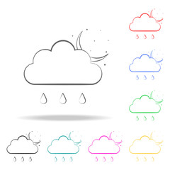 the sign of the night rain icon. Elements of weather multi colored icons. Premium quality graphic design icon. Simple icon for websites, web design, mobile app, info graphics