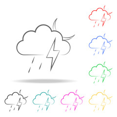 a sign of a night rain with a thunder-storm icon. Elements of weather multi colored icons. Premium quality graphic design icon. Simple icon for websites, web design, mobile app