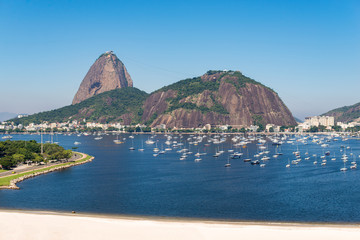 Wall Mural - View of Botafogo Beach With the Sugarloaf Mountain in the Horizon, in Rio de Janeiro, Brazil
